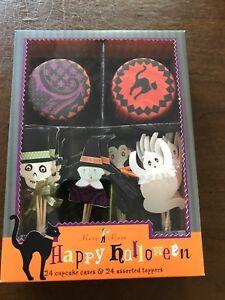 Meri Meri Happy Halloween Cupcake Toppers & Cups Vampire Ghost Witch 48 Pc Set