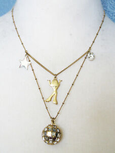 Betsey Johnson Jewelry Dancing Girl Star Silver and Gold Necklace