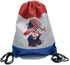 USA America Flag drawstring backpack tote bag cinch sack Handbag Soccer Gym