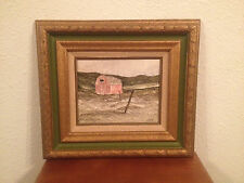 Likely Vintage Rod Newhall Signed Painting on Board of Barn in Landscape