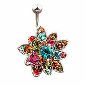 Large Surgical Steel Flower Belly Bar with Multi Coloured Cubic Zironia Gems