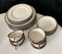 29 Piece Ivory Triple Platinum Trimmed China Dinnerware
