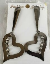 Post Style Earrings Fashion Jewelry Silver Tone with Dangling Heart