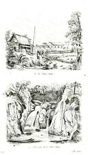 PHILIPPINES - LAGUNA JALA JALA WATERFALL VILLAGE  Original 1835 Antique Print