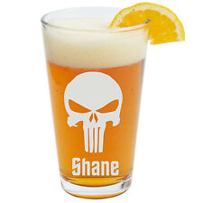 Punisher Beer Glass, Personalized Glass, Pint Glass, Engraved Glass