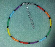 PRIDE ANKLE BRACELET RAINBOW SEED BEAD - GAY/LESBIAN UNISEX
