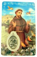 Laminated Saint Francis of Assisi Holy Prayer Card with Medal, 3 1/4 Inch