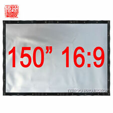 """150"""" 16:9 Wall Mounted Gray Silver Projector Screen for 3D Home Office Hd Movie"""