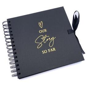 Our Story So Far Love Themed Black Scrapbook Guest Book Photo album Gold Script