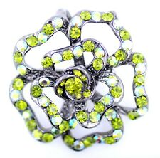 crystal rose brooch pin, great gift Vintage retro style black and green cutout
