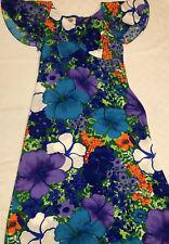 Pomare Tahiti Floral Hawaiian Long Maxi Dress Barkcloth