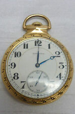 1918 BURLINGTON  BULLDOG POCKET WATCH 14KT GF 21 JEWELS I-6340