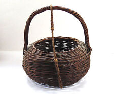 Antique Rustic Primitive Woven Twig Hanging Basket Handle Round Brown c1900