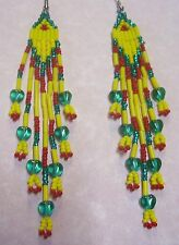 "Red Yellow Emerald Seed Bead Native Style Earrings 4"" BOHO Handmade In USA"