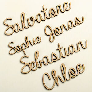 Wooden Personalised Script Names Bespoke Wedding Christmas Words Letters