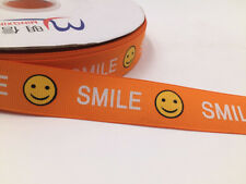 DIY1-50Yard 1'' 25MM Smiling face Printed spear Grosgrain Hair Bow Sewing Ribbon
