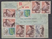 LETTRE REC MADAGASCAR 1957 AMPARAFARAVOLA PR TANANARIVE AFFT 9 TIMBRES FIDES