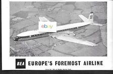 BEA BRITISH EUROPEAN 1959 DE HAVILLAND COMET 4B EUROPE'S FOREMOST AIRLINE AD