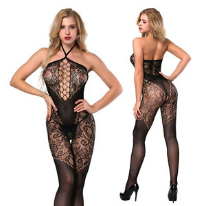 Women Fetish Bodystockings Lingerie Bodysuit crotchless sexy Catsuit DS Costumes