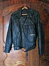 Perfecto en cuir épais noir vintage-Harley Davidson Motor Cycles-US Air Force-S