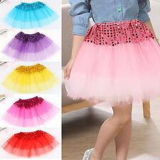 AU_ Girl Kid Dancewear Tulle Sequin Princess Tutu Skirt Dance Party Pettiskirt C
