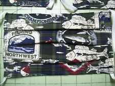 *MADE IN USA* HANDMADE- FISHING DESIGN FABRIC.WASHABLE 100%COTTON