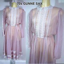 Vintage Gunne Sax Jessica Lilac Chiffon Lace Hippie Boho Festival Dress Sz SMALL
