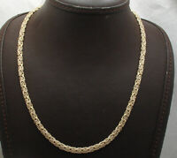 """18"""" Technibond Domed Byzantine Chain Necklace 14K Yellow Gold Clad Real Silver"""