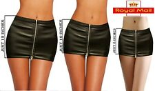 HOT& SEXY MIX LENGTH BLACK LEATHER LOOK FULL ZIP BODY CONE MICRO MINI SKIRT