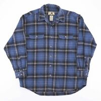 Vintage FIELD & STREAM Blue Check Heavy Flannel Shirt Size Men's XL