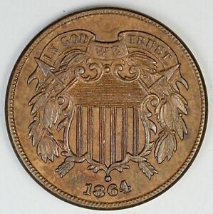 1864 United States Two-Cent Piece Shield - BU+ Brilliant Uncirculated Plus