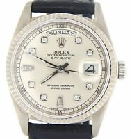 Rolex Day-Date 18039 Mens Solid 18K White Gold Watch Silver Diamond Dial