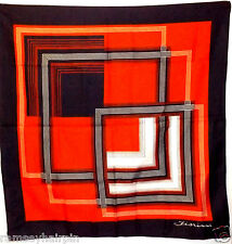 VINTAGE RED FIORINI HAND ROLLED EDGE GEOMETRIC HEAD SQUARE SCARF SCARVES #325