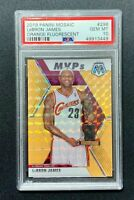 2019 Mosaic Orange Fluorescent Prizm MVPs #298 Lebron James /25 PSA 10 GEM POP 3