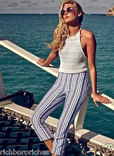 NEW  Free People Striped Crop Pants white gray red blue muted side zipper 12
