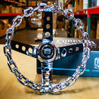 11 Inch Chrome Chain Steering Wheel With Cutout Spokes And Horn Button -3 Hole