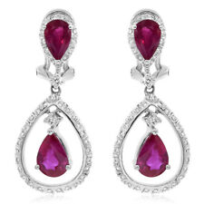 18K WHITE GOLD DIAMOND & PEAR SHAPED RUBY TEARDROP DANGLE EARRINGS