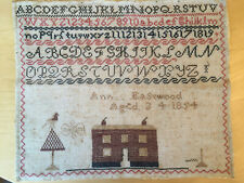 New listing Vintage, previously framed Sampler, dated 1854, source not known, condition poor
