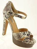 STEVE MADDEN Snake Print Leather Ankle Strap Stiletto Platform Shoes Women's 8M