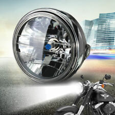 7'' Inch Motorcycle Round Headlight Halogen H4 Bulb Head Lamp Side Mount 35W