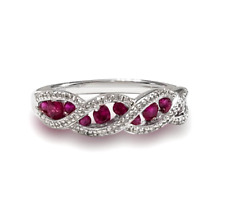 Natural Ruby and White Topaz Eternity Band Ring 925 Sterling Silver Size 7