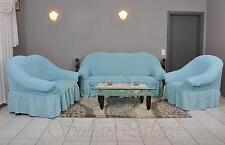 Sofabezug 3er+2er+1er Sofa Bezug Husse Überwurf Spannbezug hellblau blau