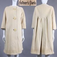L/XL Vintage 1960s Hutner's Paris Ivory Wool Boxy Knee Coat Bracelet Slv 60s