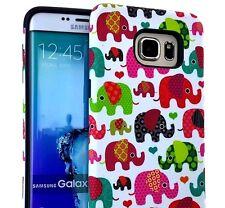 For Samsung Galaxy S6 Edge Plus -HARD TPU RUBBER HYBRID CASE PINK GREEN ELEPHANT