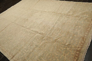 9' x 12' Hand Knotted 100% Wool Tibetan Antiqued Area Rug Beige 9x12