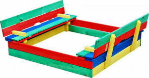 SANDPIT WOODEN  CHILDRENS MULTI COLOURED  / PLAY / BALL PIT WITH LID & BENCHES