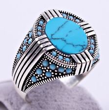 Turkish Jewelry Turquoise Stone 925 Sterling Silver Mens Mans Ring US all size 3