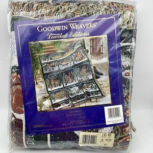 "Heritage Village Goodwin Dept 56 Christmas Afghan Woven Throw Blanket 48"" x 67"""