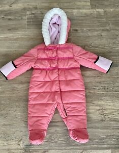 Baby Girl Pink Puffer Snowsuit w/ Bows & Attached Mittens 0-6 months