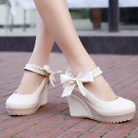 Womens High Heel Platform Wedge Pumps Round Toe Sandal Bowknot Mary Jane Shoes